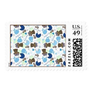It's A Boy Blue Baby Shower Pattern Postage