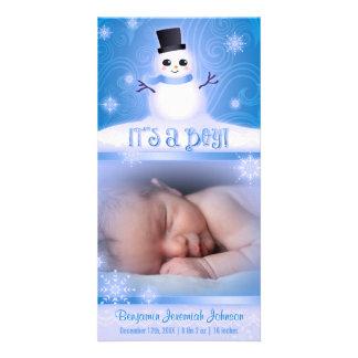 """It's a Boy!"" Blue Baby Snowman Photo Greeting Card"