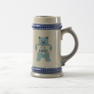It's A Boy Blue Bear 18 Oz Beer Stein