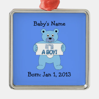 It's A Boy Blue Bear Metal Ornament
