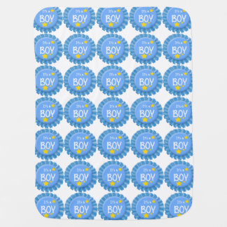 It's a Boy Blue Button Swaddle Blanket