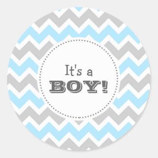 It's a BOY! blue chevron envelope seal Classic Round Sticker
