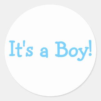 Its A Boy (Blue) Classic Round Sticker