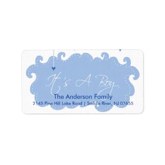 It's A Boy Blue Cloud address Label