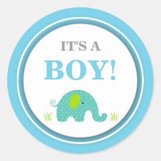It's a boy blue elephant announcement favor idea classic round sticker