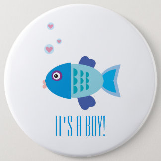 It's a Boy - Blue Fish Cartoon - Gender Reveal Button