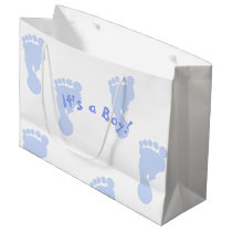 It's a Boy Blue Footprint Patterned Large Gift Bag