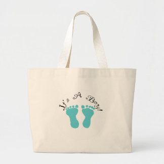It's A Boy Blue Footprints Large Tote Bag