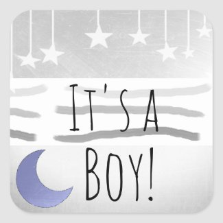 It's a Boy Blue Gray Moon and Stars Square Sticker