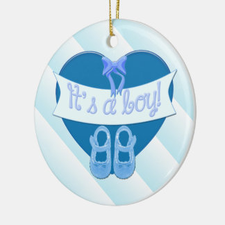It's a boy Blue Heart Bow Shoes Baby Boy Shower Ceramic Ornament