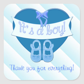 It's a boy Blue Heart Bow Shoes Baby Boy Shower Square Sticker