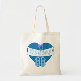 It's a boy Blue Heart Bow Shoes Baby Boy Shower Tote Bag