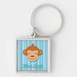It's a Boy! - Blue Monkey Key Chain - Square