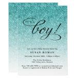 It's a Boy Blue Ombre Glitter Baby Shower Card