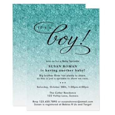 Toddler & Baby themed It's a Boy Blue Ombre Glitter Baby Sprinkle Shower Card