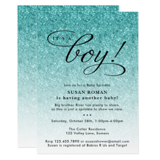 It's a Boy Blue Ombre Glitter Baby Sprinkle Shower Invitation