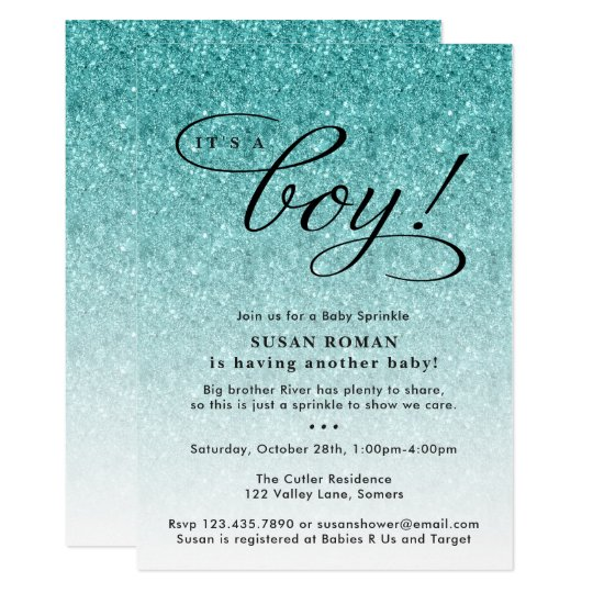 Its a boy blue ombre glitter baby sprinkle shower invitation its a boy blue ombre glitter baby sprinkle shower invitation filmwisefo