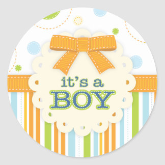 It's a Boy Blue Orange Green in Stitches Baby Bow Classic Round Sticker