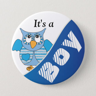It's A Boy Blue Owl | Baby Shower Pinback Button