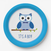 It's a Boy Blue Owl Gender Reveal Baby Shower Paper Plate