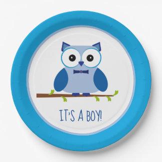 It's a Boy Blue Owl Gender Reveal Baby Shower Paper Plate