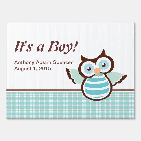 It's a Boy Blue Owl Yard Sign