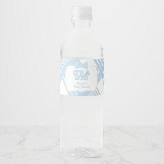 It's A Boy, Blue Plaid Baby Shower Water Bottle Label