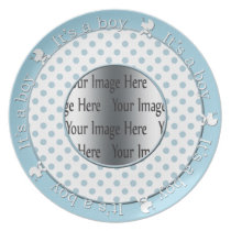 its a boy blue polka dots cute gift photo plates