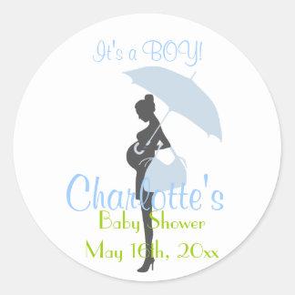 It's A BOY! Blue Silhouette Baby Shower Classic Round Sticker
