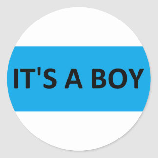 ITS A BOY BLUE ROUND STICKERS