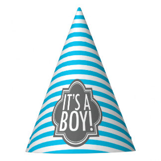 It's a Boy Blue Stripes and Charcoal Party Hat