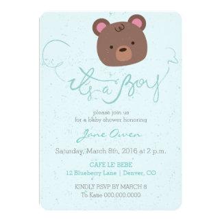 It's a boy blue teddy bear baby shower invitation