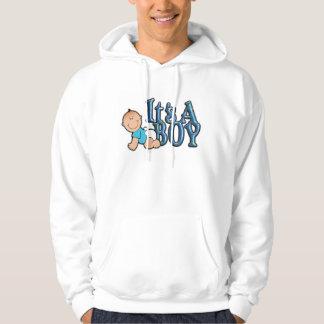 It's A Boy Blue Text w/Baby Hooded Sweatshirt