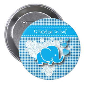 It's A Boy, Blue & White Plaid with Baby Elephant 3 Inch Round Button