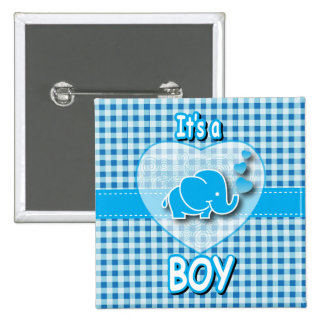 It's A Boy, Blue & White Plaid with Baby Elephant Button