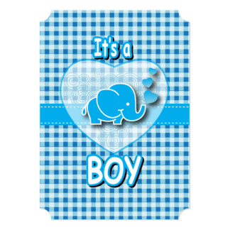 It's A Boy, Blue & White Plaid with Baby Elephant Card