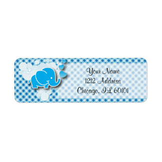 It's A Boy, Blue & White Plaid with Baby Elephant Label