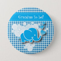 It's A Boy, Blue & White Plaid with Baby Elephant Pinback Button