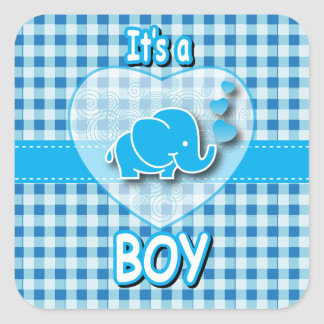 It's A Boy, Blue & White Plaid with Baby Elephant Square Sticker