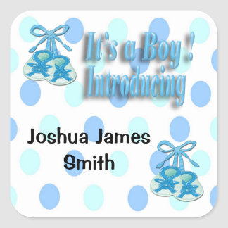 Its a Boy Booties Birth Announcement envelope seal Square Sticker