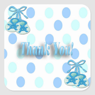It's a Boy - Booties Thank You envelope enclosure Square Sticker
