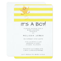 It's A Boy Bouncing Baby Chicken Yellow Shower Invitation