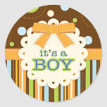It's a Boy Bow Blue Brown in Stitches Baby Classic Round Sticker