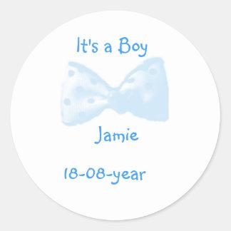It's a boy! -bow-sticker - classic round sticker