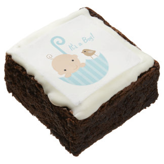 It's A Boy | Brownies & White Chocolate Icing