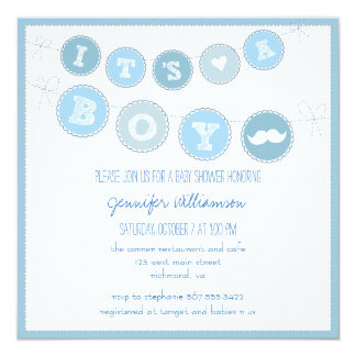 It's A Boy Bunting Banner Baby Shower Invite