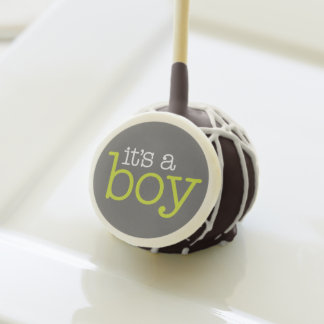 It's A Boy - Charcoal and Lime Green Baby Shower Cake Pops