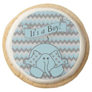 It's a Boy Chevron Blue Elephant Round Shortbread Cookie