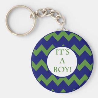 Its A Boy Chevron Milestone Keychain