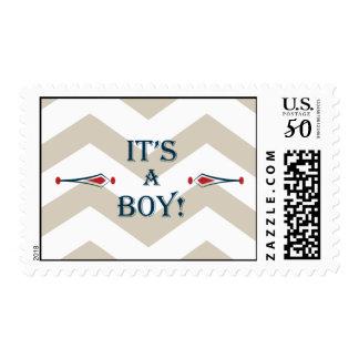 It's a boy - chevron pattern postage